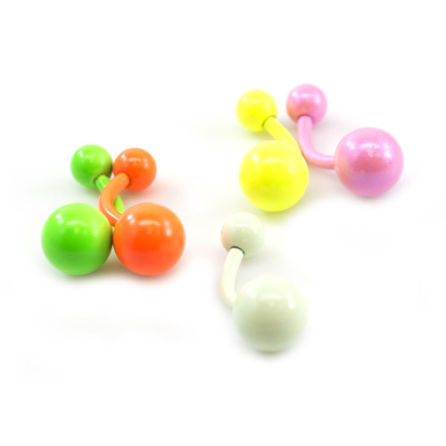 Belly Button Ring Package of 5 with Colorful Enamel coated 14G