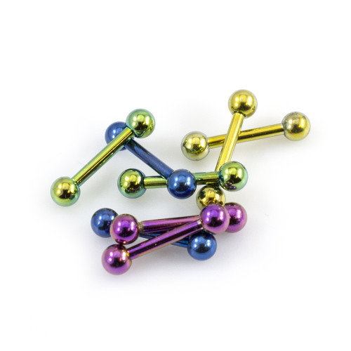 Pack of 8 Straight Mini Barbells 16g Anodized Titanium 5/16 in- 8mm