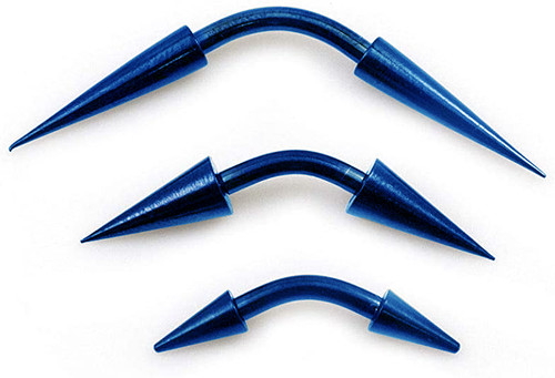Pack of 3 Blue Curved Barbells with Spike Ends 14g (6mm, 10mm, 14mm)- Assorted Lengths