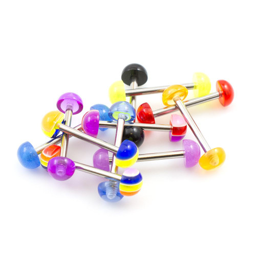 Pack of 10 Straight Barbells 14g with Colorful Design Acrylic Half Balls- Randomly Picked