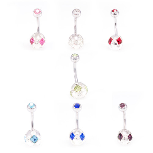 Pack of Belly Button Rings with Sphere Design adorned with Cubic Zirconia 14g- 7pcs