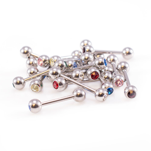 Straight Barbells 16ga with an Assortment of 9 Colors - 18PCS