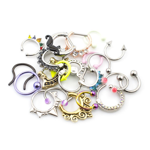 Pack of 10 Septum Jewelry Randomly Picked 16 gauge