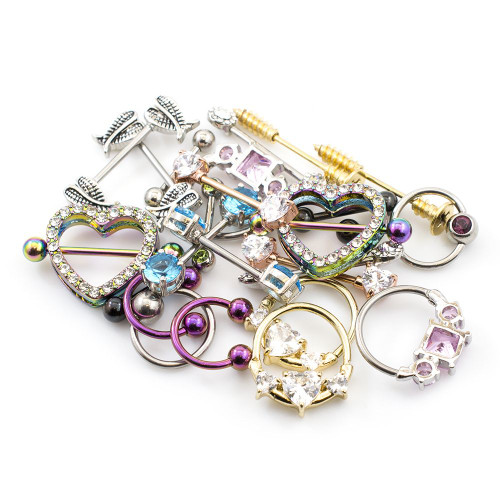 Pack of 12 Pieces (6 Pairs) of Nipple Rings Randomly Picked 14ga