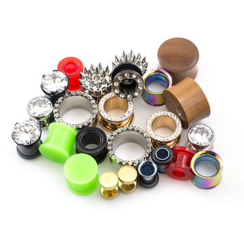 Pack of 12 Pieces (6 Pairs) of Ear Plugs and Tunnels Randomly Picked