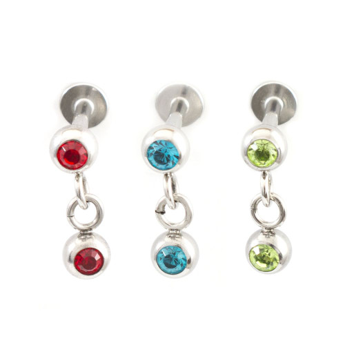 Labret Jewelry Pack of 3 with dangle Cubic Zirconia Design Perfect for Cartilage piercings 14g