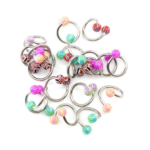 Pack of 10 Pair Twister Rings Assorted Designs Acrylic Ball 14ga Surgical Steel