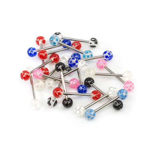 Pack of 10 Pair Straight Barbells Assorted Design Transparent  Acrylic Ball 14ga Surgical Steel