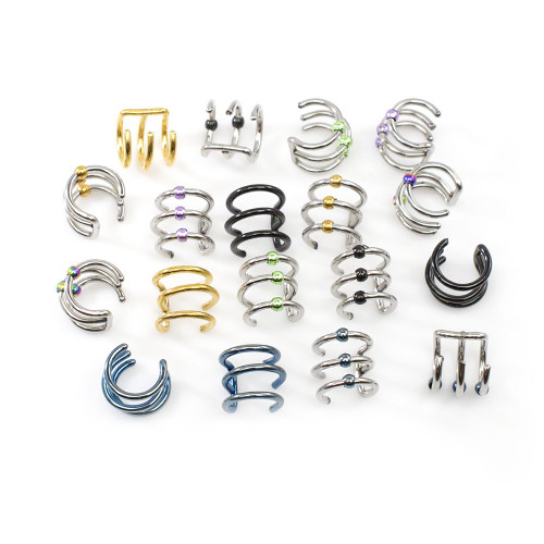 Pack of 9 Pairs No Duplicates Ear Cartilage / Cuffs Surgical Steel- No Piercing Needed
