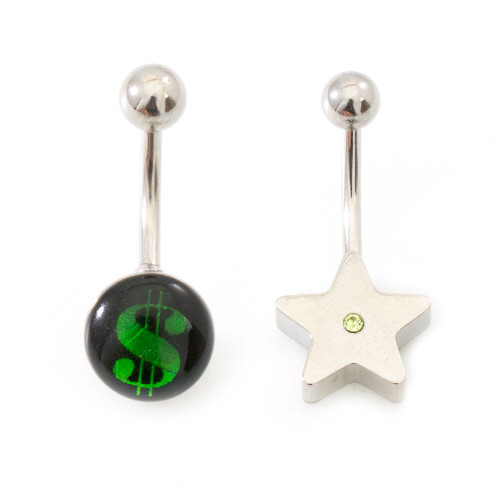 Pack of 2 Star and Money Sign Design Belly Button Rings Surgical Steel 14ga