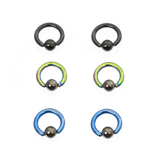 Pack of 6 Colorful Anodized Titanium Mini Captive Bead Rings with Hematite Ball 14ga