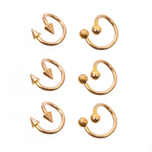 Twister Ring pack of 6 with spike and ball ends 16g