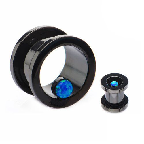 Black PVD Plated Ear Plugs with Synthetic Blue Opal 1 Pair