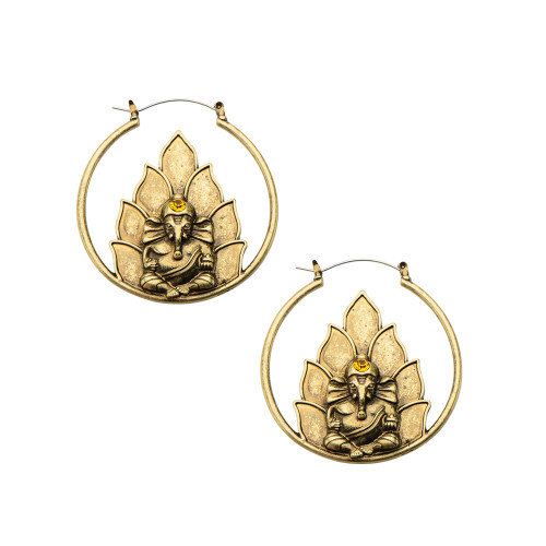 20g Antique Gold Ganesh Plug Hoop - Perfect for Pierced or Streched Ears - Sold as a Pair