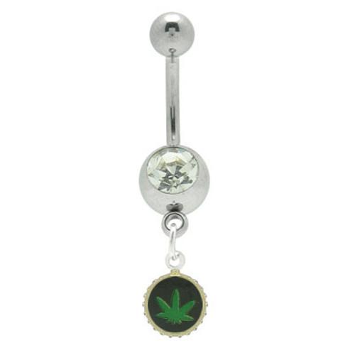 14 gauge Pot Leaf Jeweled Belly Ring