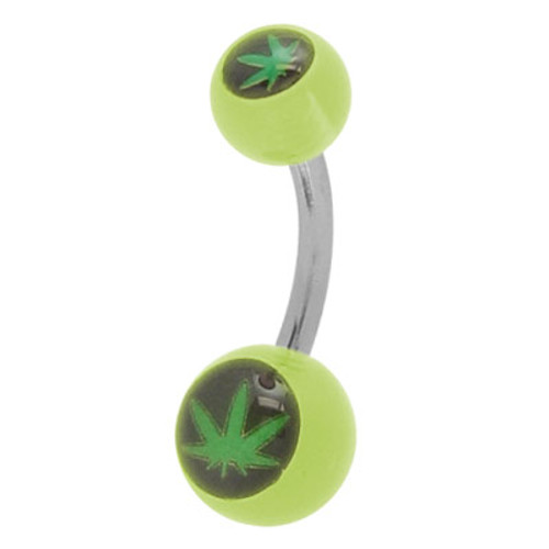 Pot Leaf (14g) Belly Ring Green Acrylic Beads