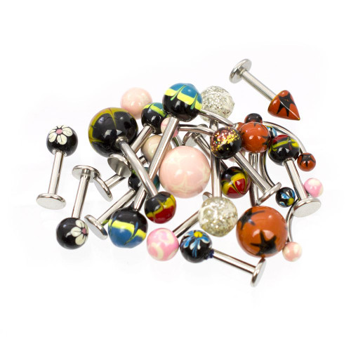 Pack of 20pcs- Assorted Jewelry - Belly Rings, Tongue Barbells, Labrets, Eyebrow, Nipple 14ga & 16ga