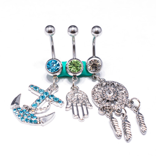 3Pcs 14G Surgical Steel Belly Button Rings for Women Navel Rings CZ Stones