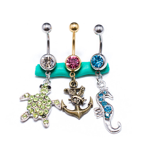 Package of 3 Surgical Steel Belly Button Rings for Women 14G CZ Stones