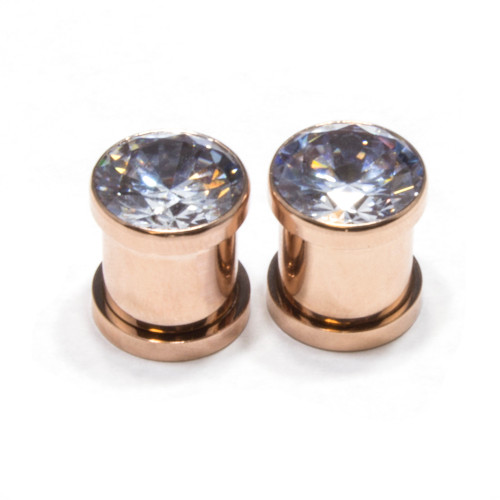 Screw Fit Rose Gold PVD Plated Plugs with CZ Gem in Front-Sold as a Pair