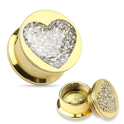 Pair of Clear Gem Paved Heart Gold IP 316L Surgical Steel Screw-Fit Plugs