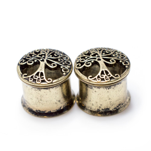 Pair of Tree Of Life Antique Gold IP Double Flared Tunnels