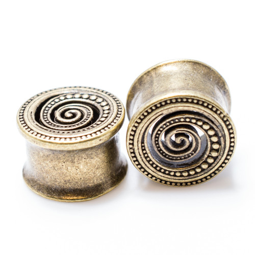 Pair of Antique Gold IP Spiral Design Ear Plugs Surgical Steel