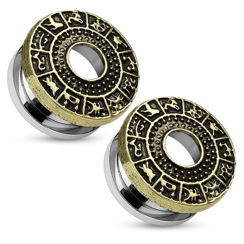 Pair of Burnish Gold Plated Zodiac Sign Around Top Surgical Steel Screw Fit Tunnels