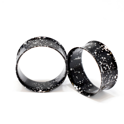 Pair of Metallic Splatter Black 316L Surgical Steel Double Flared Tunnel