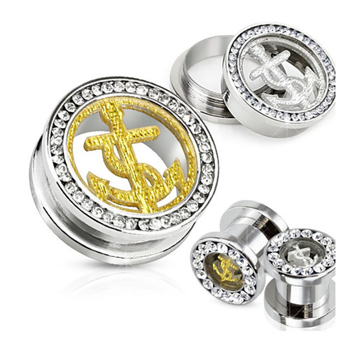 316L Surgical Steel Screw Fit Tunnel with Glitter Anchor and Multi-Gemmed Rim Sold as Pair