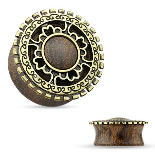 Pair of Organic Wood Tribal Shield Ear Gauges