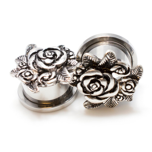 Pair of Screw Fit Flesh Tunnels Antique Rose Blossoms  Design Top