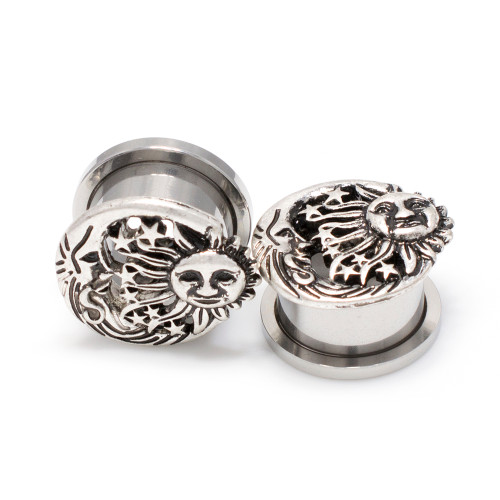Pair of Screw Fit Flesh Tunnels Antique Sun, Moon and Star Design Top