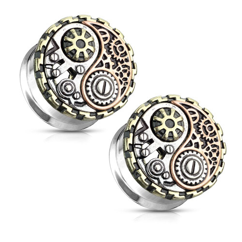 Pair of  Three-Tone Yin and Yang Steampunk Geared Double Flared Ear Tunnels Surgical Steel