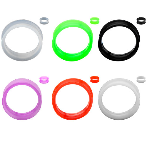 Super Thin Walled Silicone Double Flared Tunnels - Sold As a Pair