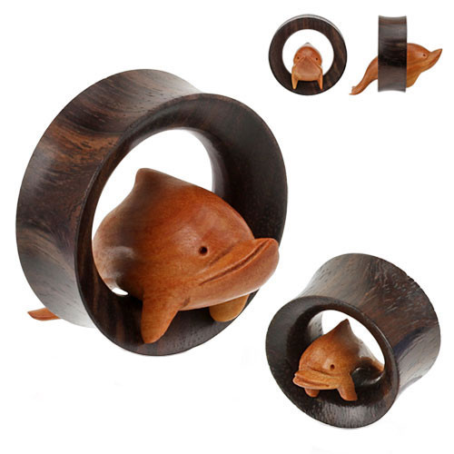 Organic Wood Saddle Fit Tunnel with Hand Carved Dolphin (19mm - 35mm) - Sold in Pairs