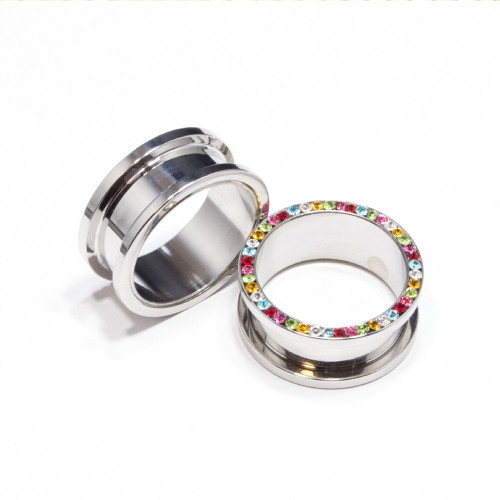 Pair of Screw Fit Surgical Steel Plugs with Multi-Colored CZ Jewels
