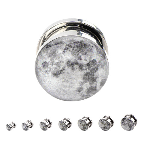 "Pair of  Screw Fit Steel Plugs 2ga-5/8"" Inch with Moon Graphic"