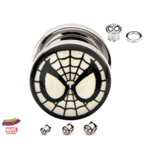 Pair of Spider-Man Screw Fit 316L Surgical Steel Plugs