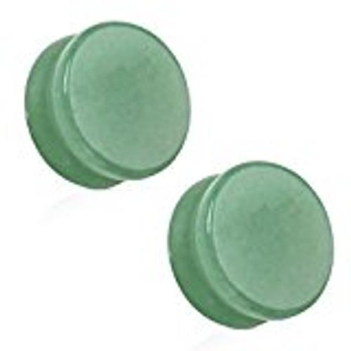 Pair of Saddle Fit Jade Semi Precious Solid Stone Plugs