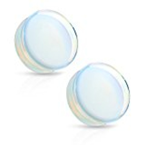 Pair of Saddle Fit Argenon(Opalite) Semi Precious Solid Stone Plugs
