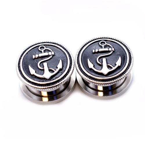 Pair of Vintage Anchor  Surgical Steel Screw Fit Plug