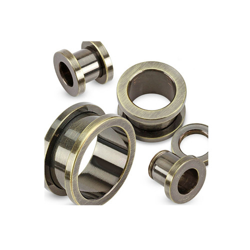 """Gun Metal IP over 316L Surgical Stainless Steel Screw-Fit Tunnel - (10GA/2.4mm - 1""""/25mm) - Sold as Pair"""