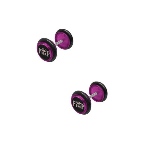 16 gauge Purple Acrylic Pimp Ear Gauges