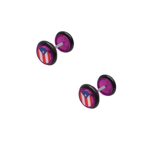 16 gauge Puerto Rican Logo Fake Earplug