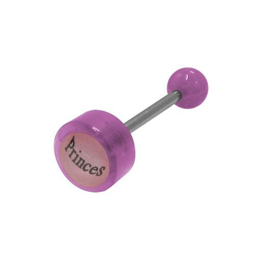 Purple Beads Princess Logo Barbell Tongue Ring