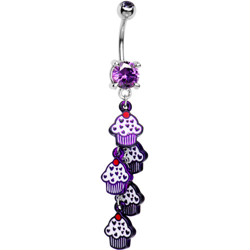 Belly Button Ring - Purple Cupcake Dangle 14ga 316L Surgical Steel
