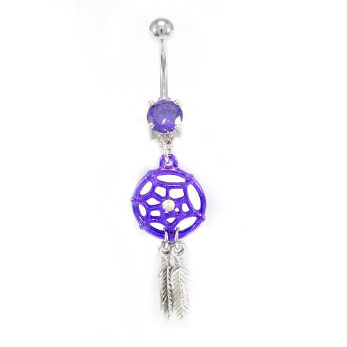 Purple Dream Catcher Belly Button Ring 14ga