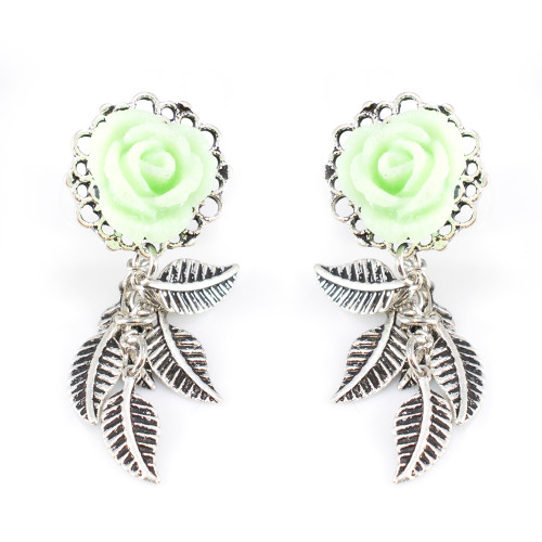 Ear Piercing Plugs with Mint Green Rose Frame Front and Leaf Dangles- Pair