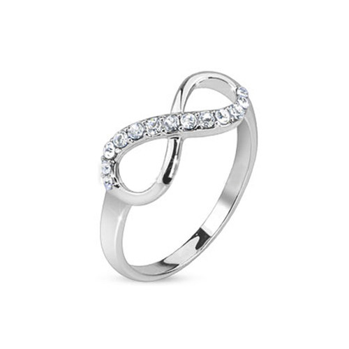 Pave Gem Infinity Design Rhodium Plated Brass Ring - 5 Sizes Available
